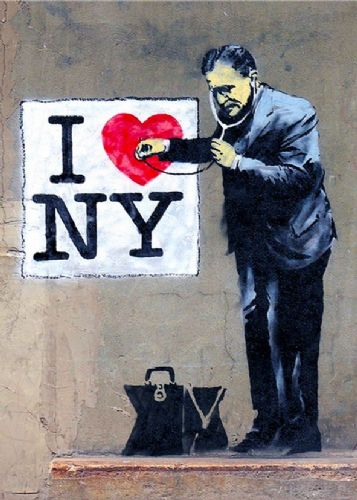 BANKSY - HEART OF NEW YORK canvas print - self adhesive poster - photo print